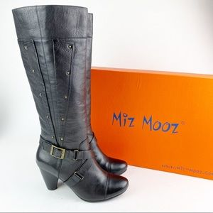 Miz Mooz Tuxedo Leather Tall Heeled Boot 8.5 YY